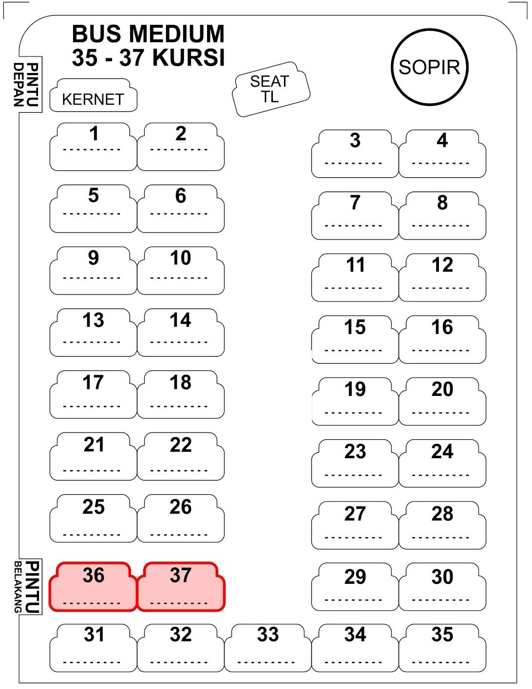 Bus pariwisata medium 35 - 37 kursi